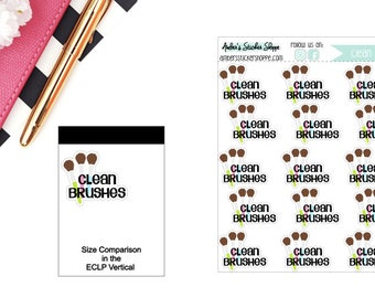 Clean Makeup Brushes Planner Stickers