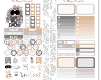 Monday Blues Personal Size Planner Sticker Kit for use with Kikki K, Filofax, Travelers Notebook etc
