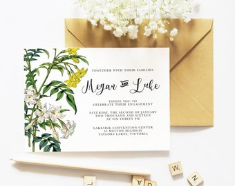 Printable Floral Wedding Invitation | Digital Custom Invite | DIY Template | Wedding Cards | Engagement | Calligraphy | Garden Wedding