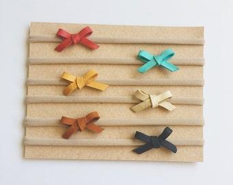 Tiny leather baby bow set on nylon headbands basic newborn toddler mini dainty bows baby shower