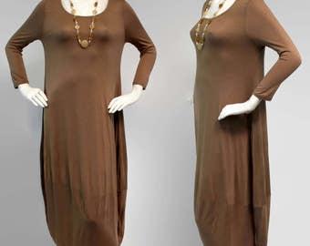 Designer Lagenlook Dress, Vesrsatile Dress, Designer Full Sleeve Dress, Mocha Color, Sizes S, M, L