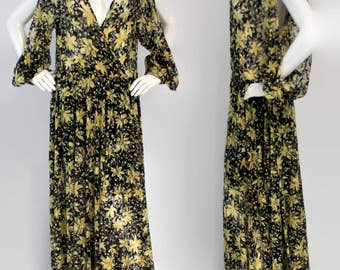 Stunning Cut Sleeve Maxi Dress with Adjustable side straps, Exclusive Floral Pattern, Premium Netted Polyseter, Sizes S, M, L