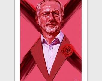 A6 Postcard: Digital Portrait Painting - Jeremy Corbyn, politician, Labour Party Leader
