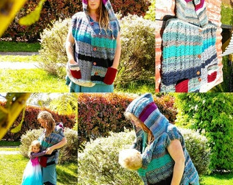 Crochet baby wearing breastfeeding nursing warm hooded button up vest