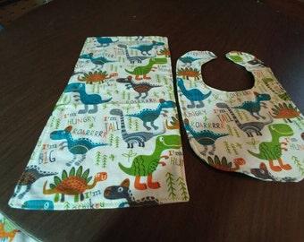 Dinosaur bib and burp cloth set.