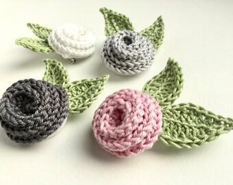 Crochet brooch - wedding brooch - alternative wedding - pink crochet brooch - grey crochet brooch - white crochet brooch