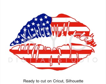 4th of July svg American Girl Lips svg Independence Day US American Flag svg Fourth of July SVG files for Cricut Silhouette Brother files