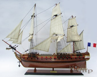 La Fayette Hermione Natural Wood Finished Model Ship