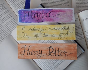 Harry Potter bookmarks in watercolor
