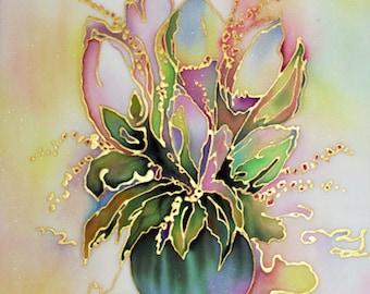 Original Watercolor Painting on silk, batik art, bouquet, flowers