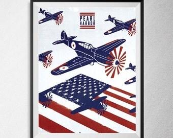 Pearl Harbor movie print, Illustration, Minimal film poster, minimalist movie art, custom posters, film and movie print, film art.