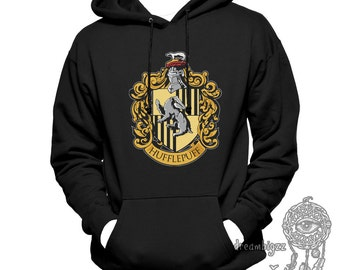 Huffle Crest #1 printed on Black, White, or Light steel Hoodie