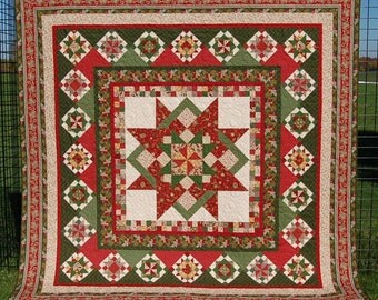 "Quilt for Sale, ""Mill Girls Holiday"" is a red and green Sampler Quilt pieced with Civil War reproduction Fabrics/ Star Quilt/Handmade Quilt"