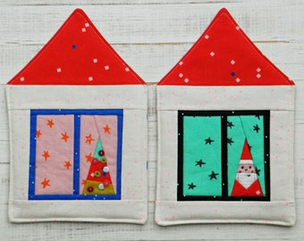 Christmas House mugrug, a paper-piecing pattern