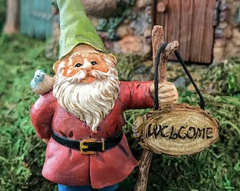 Miniature Gnome with Welcome Sign