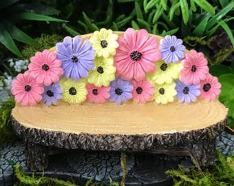 """Miniature """"Log"""" Bench with Colorful Flowers"""