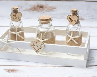 Unity Sand Set Rustic Wedding Tray Rustic Personalized  Beach Wedding Unity Jars Nautical Mason Ceremony Set Country Wedding Set Sand
