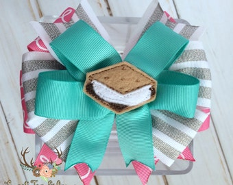 Girls S'mores Hair Bow - S'mores Birthday Bow - S'mores Party Bow - S'mores Clip - S'mores Camping Hairbow - Toddler S'mores Camping Hairbow