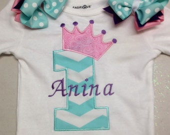 Pink Turquoise Purple Crown 1st Birthday Personalized Onesie