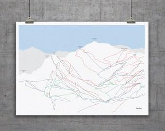 Meribel Piste Map Print A1 or A2