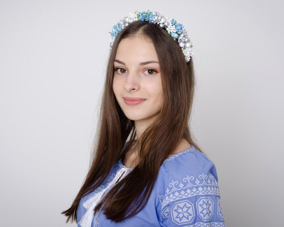 Winter colors headband from Ukraine / white blue and silver flower crown / flowergirl accessory / floral crown