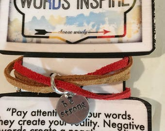 Hand Stamped Metal Charm, on Suede-Leather Cord Bracelet-Wrap