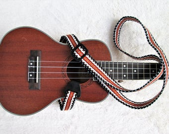 Handwoven Ukulele Strap with Style Options: Ukulele Neck Strap, Leather ends and Free LeatherStrap holder or  Banjo  Adapters