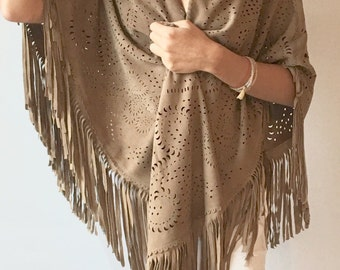 Pure suede leather shawl - natural beige