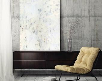 "Large Abstract Painting modern art canvas art abstract art fine art print wall art white neutral grey gray ""Highlandia 1"""