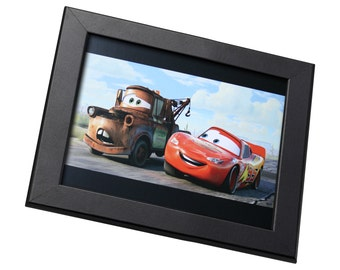Cars Pixar Animation Framed Genuine Postcard Lightning McQueen And Mater Frame, XS407