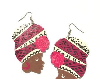 Rose African Woman Earring Set