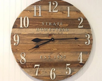 Farmhouse Clock Co Distressed Large Round Wooden Wall Clock
