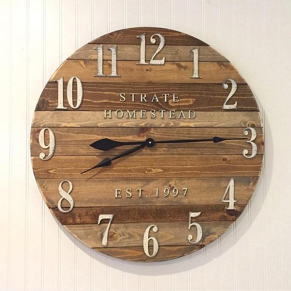 rustic plank wooden clock