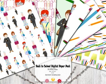 Back to school Digital paper pack Planner supplies Planner cover Planner stickers Fabric Backdrop Digital paper Girly scrapbook Background