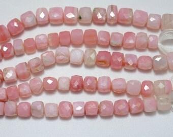 Shaded Pink Peruvian Opal Beads, Pink Opal Beads, Natural Pink Opal Faceted Box Beads, 8mm Box Beads, 4 Inch Half Strand