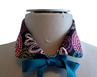 Collar blouse removable turquoise Tijuana printed flowers