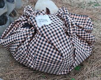 "FUROSHIKI cotton ""farcell"" 90 x 90 cm (35.43 ""x35.43"") or 110 x 110 cm (43.31 ""x43.31"") eco-friendly, reusable, versatile, sustainable bag."