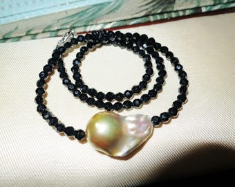 Beautiful  Keshi pearl and black spinel necklace 18 inches