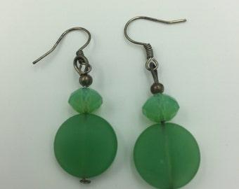 Green Two Bead Dangle Earrings BUY 3 Get 1 FREE