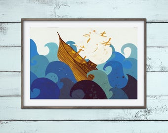 Poster Print A2 Vintage Malerei Illustration Segelschiff Schifffahrt Meer Ozean Sturm Wellen bunte Wanddeko Bad