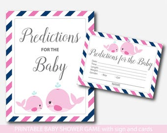 Nautical baby predictions Whale predictions for the baby with cards and sign Nautical prediction cards Whale baby shower baby cards, BW2-17