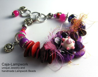 Flower bracelet Lampwork flower, pink, purple, size from 16 to 19 cm