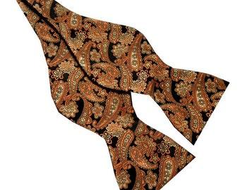 Brown Orange Paisley 2.5 Self-tie Bow Tie 33