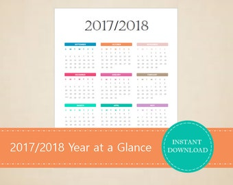 2017/2018 Academic Year at a Glance Calendar - Academic Calendar - Year at a Glance - Printable School Calendar - INSTANT PDF DOWNLOAD