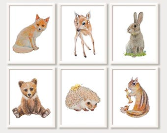 Animal Nursery Art Woodland Nursery Decor Forest Animal Prints Woodland Creatures Watercolor Play Room Decor Instant Digital Download Set 6