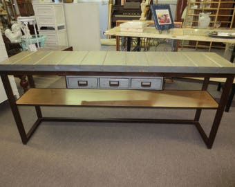 Rustic Industrial Console Sofa Entryway Accent Table