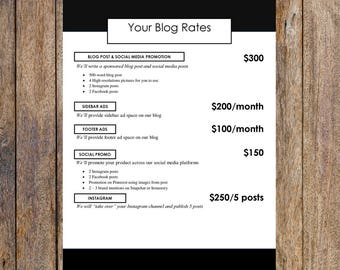 Minimal Ad Rates Template   Blog Media Kit, Branding Kit, Blog Kit, Branding Package   Editable for MS Word   Instant Download