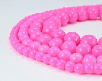 Fuchsia Glass Beads Round 6mm/8mm/10mm/12mm Shine Round Beads For Jewelry Making Item#789222045135