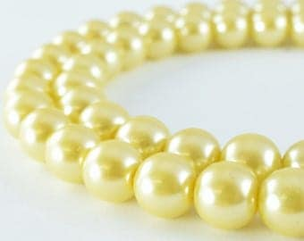 Light Gold Glass Pearl Beads Size 10mm Shine Round Ball Beads for Jewelry Making Item#789222046149