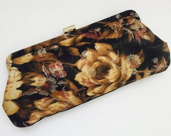 Vintage Floral Handbag /floral Clutch/1950's handbag/vintage handbag/womens handbag/party purse/black clutch/vintage floral clutch